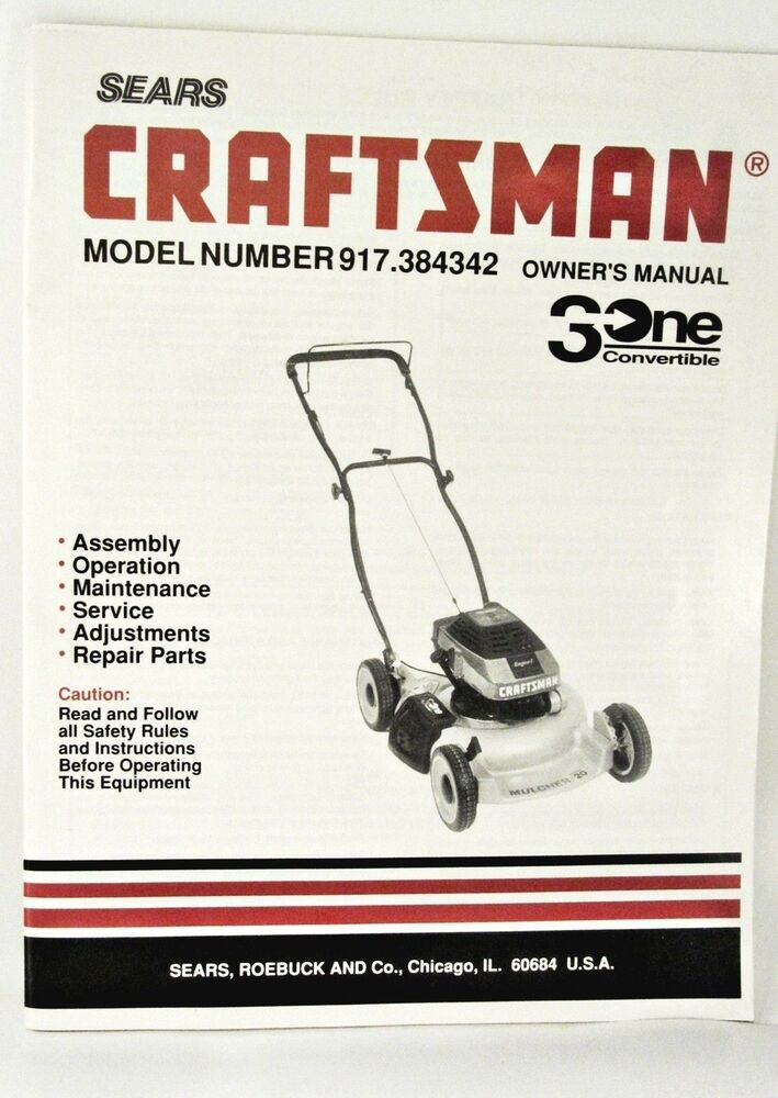 Sears Craftsman Model 917 Mower : Vintage sears craftsman owner s manual lawn mower model