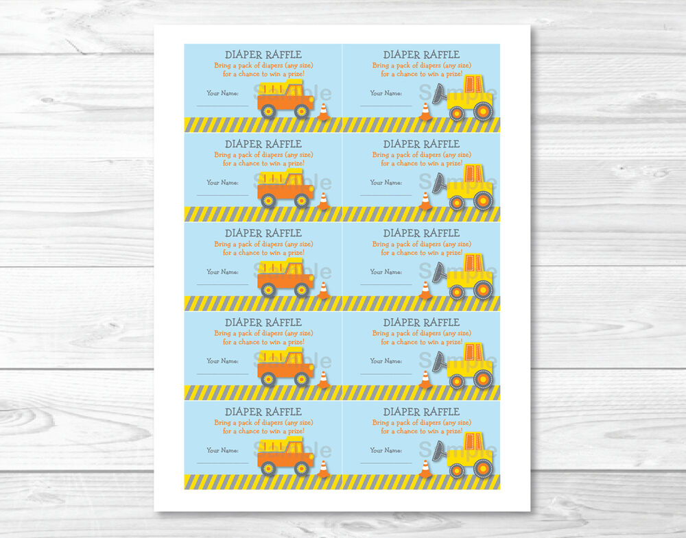Construction Trucks Printable Baby Shower Diaper Raffle Tickets | eBay