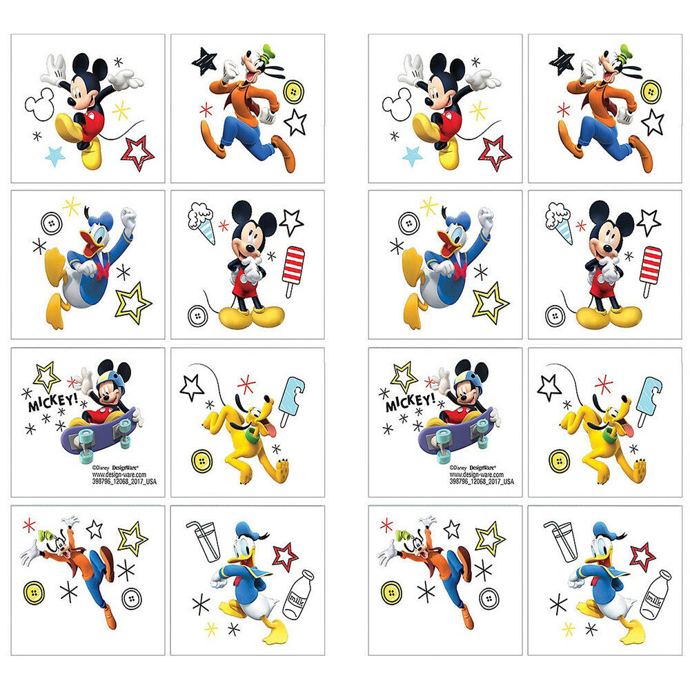 Details About 16 Disney Mickey Mouse Clubhouse Temporary TATTOOS Birthday Party Favors 2 Sheet