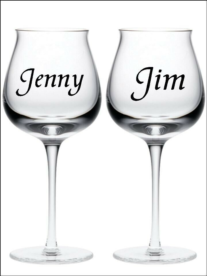 New 2 Personalised Name Wine Glass Vinyl Stickers Decals