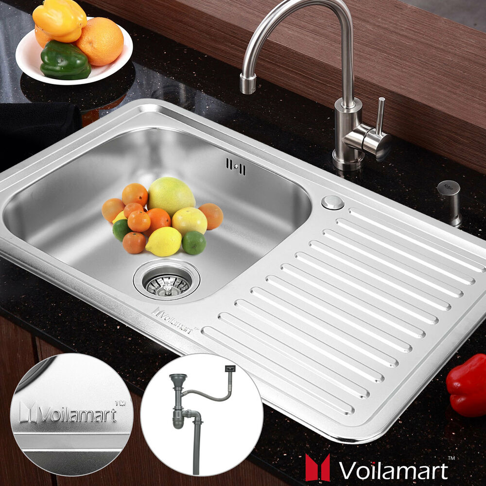 single bowl kitchen sink with drainer stainless steel kitchen sink 800x500mm laundry single bowl 9306