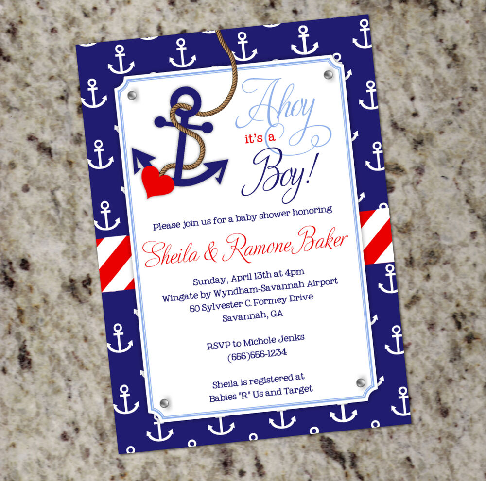 boy nautical themed baby shower invitations with anchor print ebay