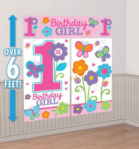 Sweet baby girls 1st 1 birthday scene setter wall for 1 birthday decoration images