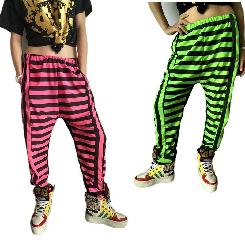 Adult kids Harem Hip Hop Dance Pants casual Sweatpants Costumes stripe ...