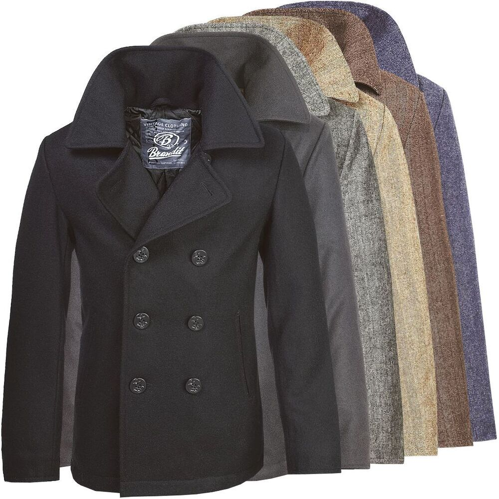 brandit herren pea coat 3109 mantel wollmantel kurzmantel winter sakko marine ebay. Black Bedroom Furniture Sets. Home Design Ideas