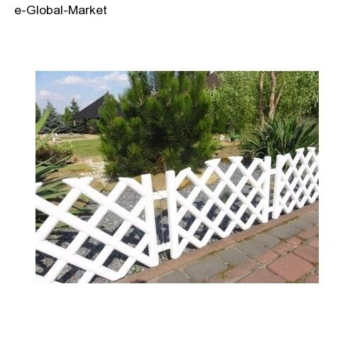 Garden Fence Lawn Edging Plastic Picket Fencing 5 Panels White Flexible