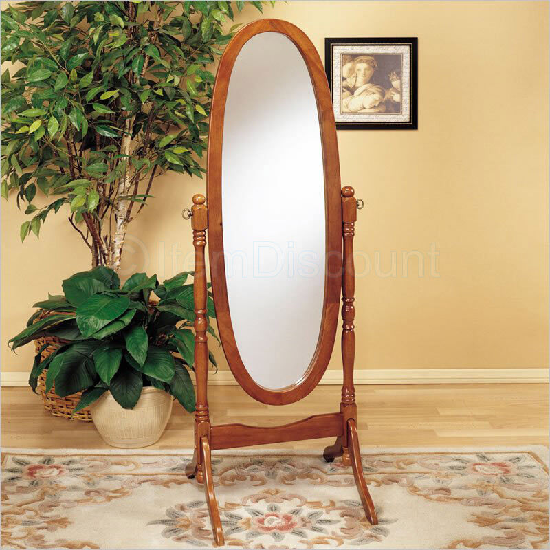 Oak Wood Cheval Oval Standing Floor Mirror Tilting Full ...
