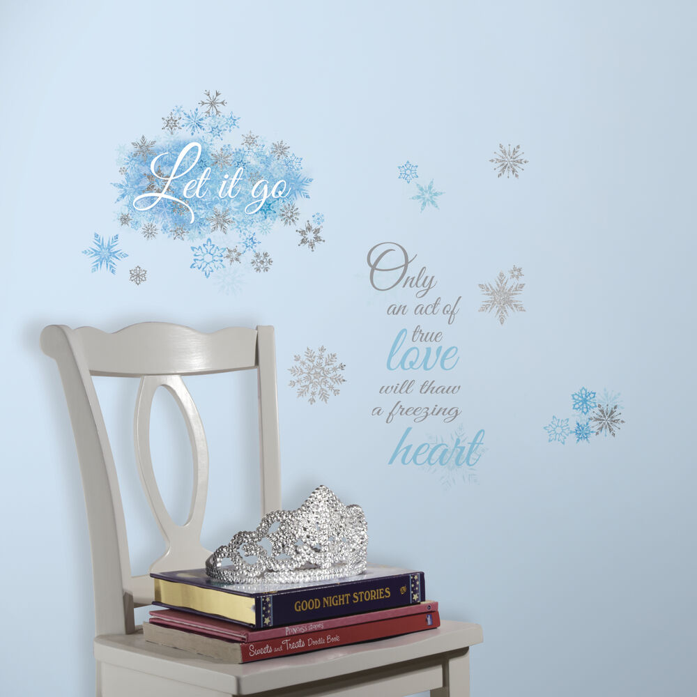 Frozen Let It Go Quote Wall Decals Snowflakes Stickers