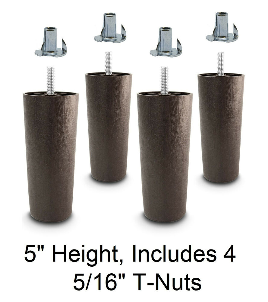 5 Universal Dark Brown Plastic Legs Sofa Couch Chair 5 16