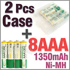 2 x Holder Case Box + 8 AAA Ni-MH 1350mAh 1.2V rechargeable battery BTY Green