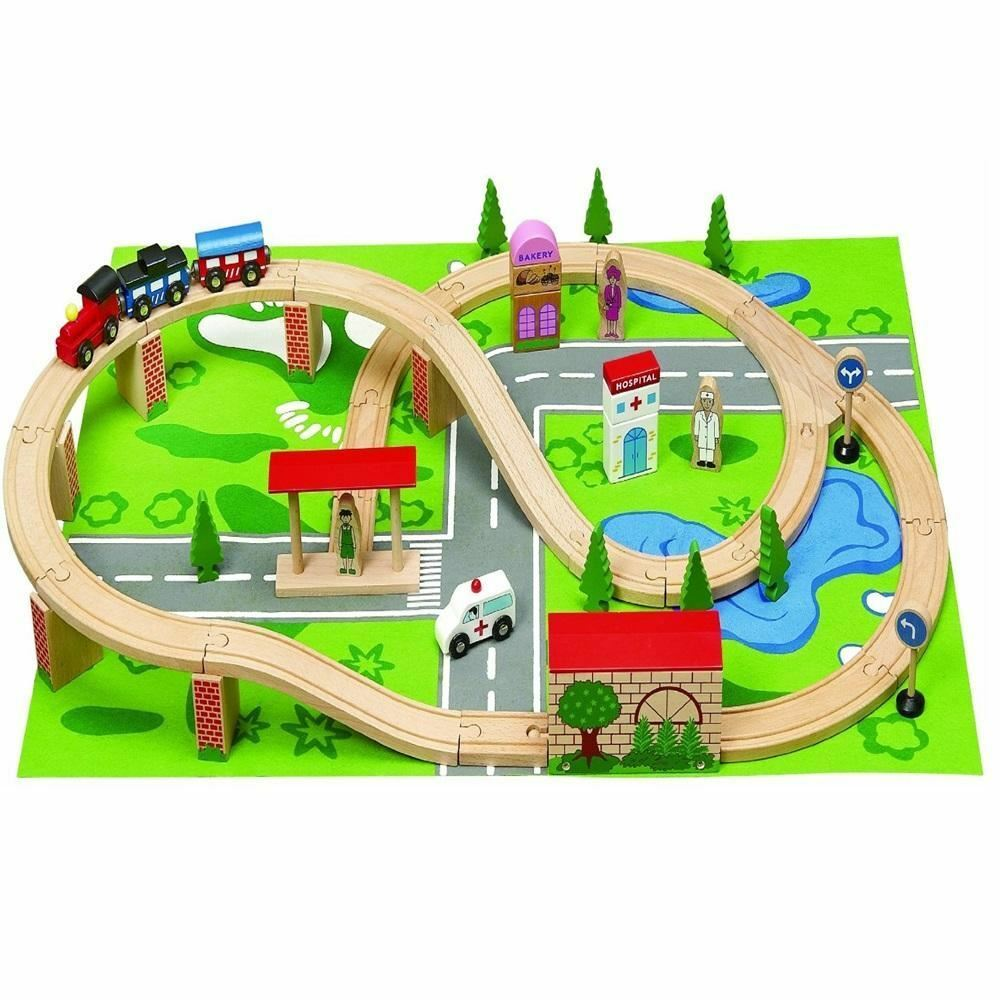 50PC WOODEN PLAY TRAIN TRACKS ROAD VILLAGE TOY MAT PLAYMAT SET IN BOX ...