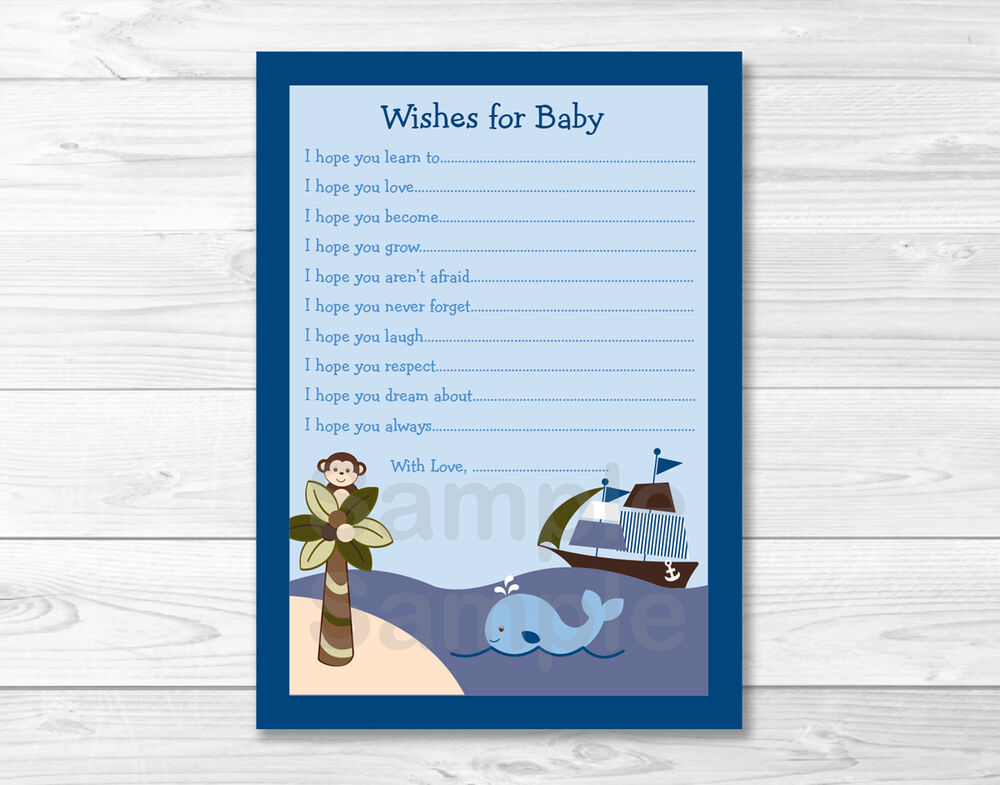 Ahoy Mate Whale Island Monkey Printable Baby Shower Wishes ...
