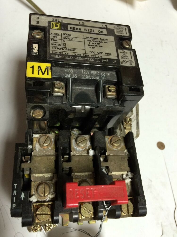 Used square d nema 00 magnetic motor starter class 8536 for Square d magnetic motor starter