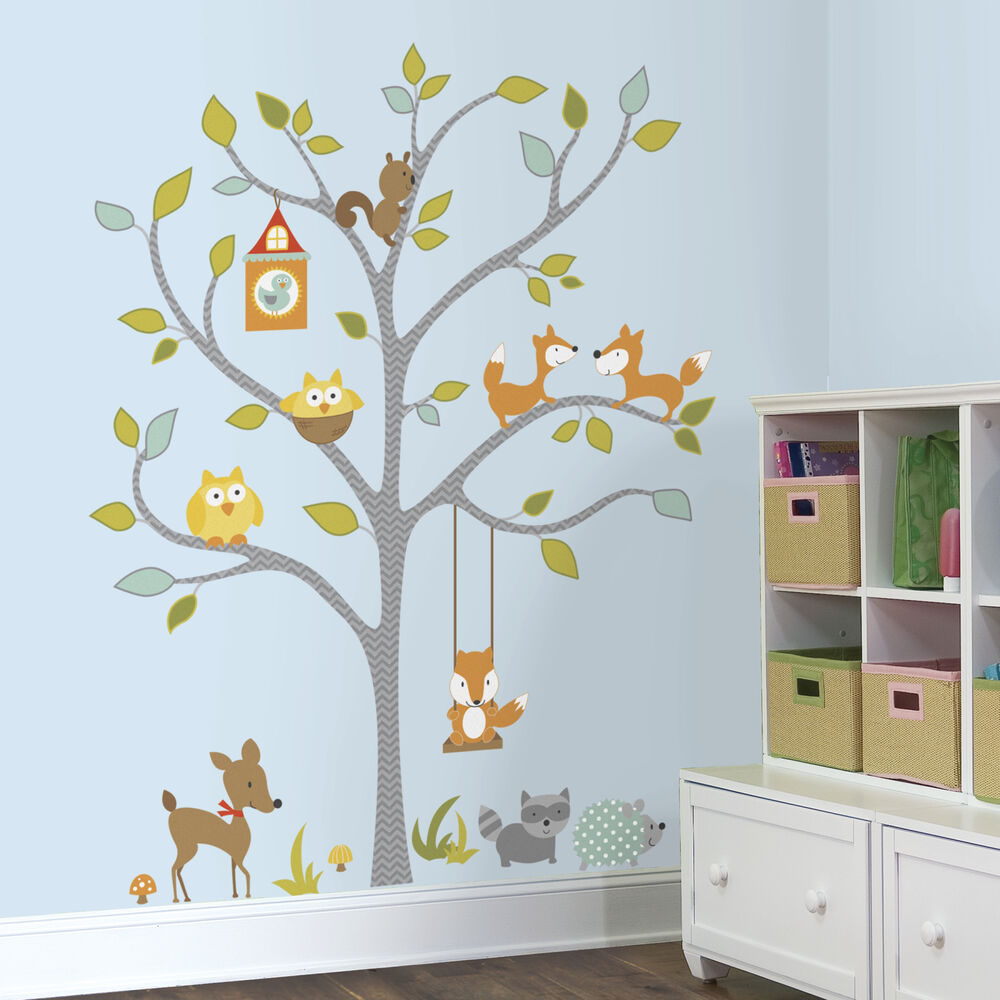 Giant woodland fox owls wall decals baby forest animals - Stickers muraux chambre enfant ...