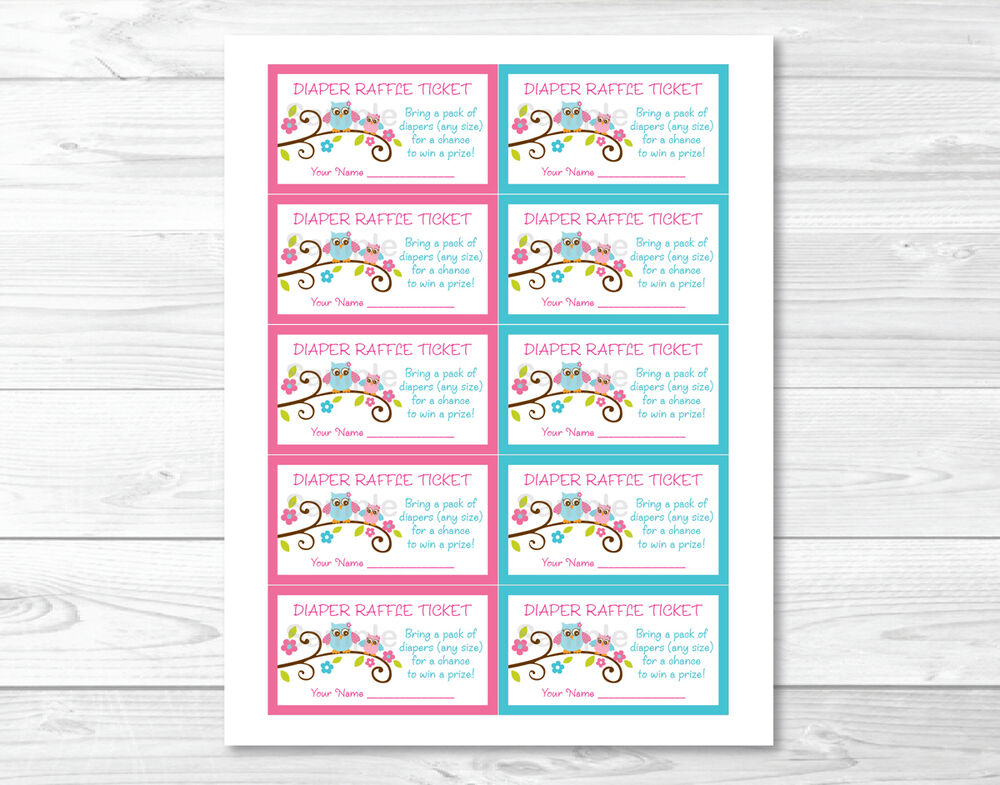 Pink Owl Blossom Printable Baby Shower Diaper Raffle Tickets | eBay
