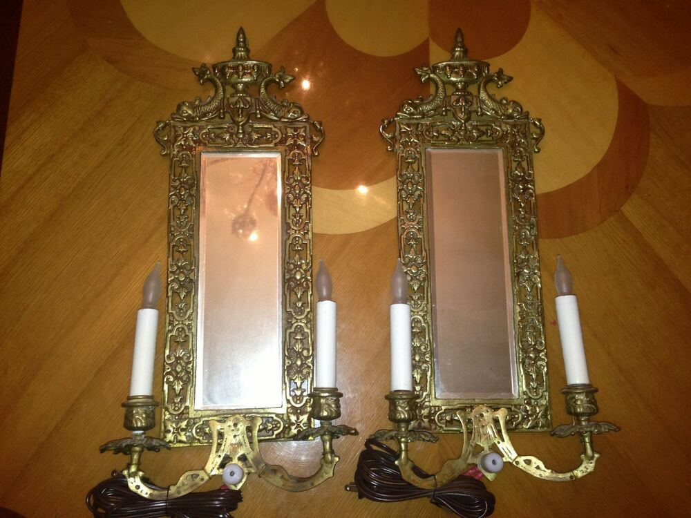 Vintage Bronze Set Of 2 Wall Luminaires With Mirror Lamps