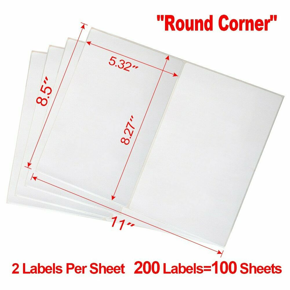 Round corner 200 half sheet shipping labels 85x55 self for Half sheet mailing labels