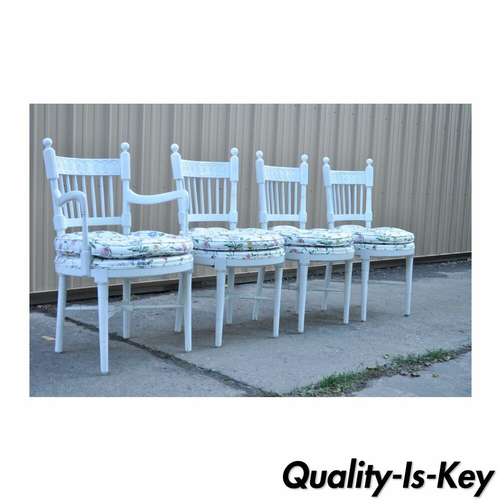 4 Vintage Hollywood Regency White Painted French Style