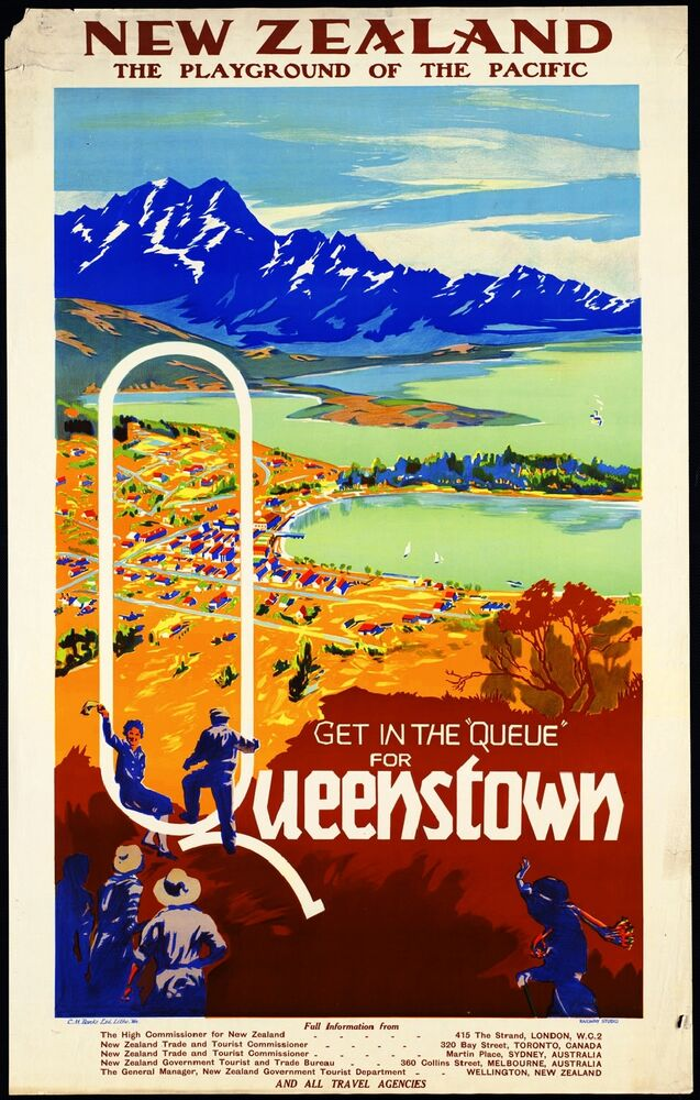 queenstown new zealand vintage travel art advertisement. Black Bedroom Furniture Sets. Home Design Ideas