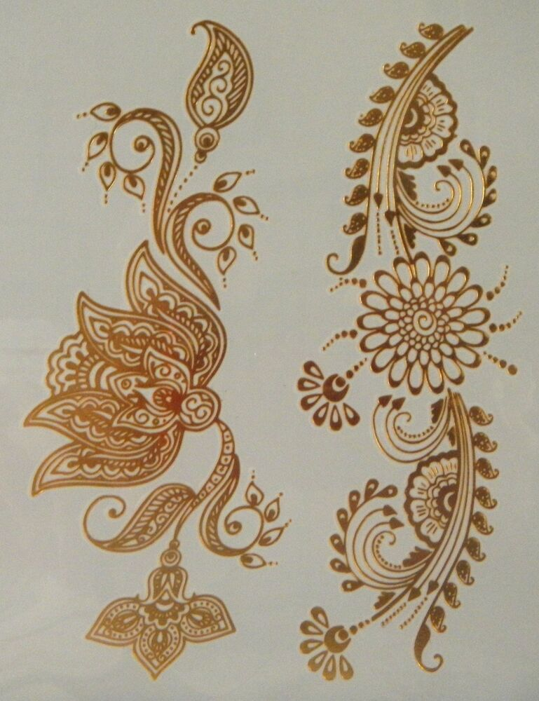 What Stores Sell Henna Tattoo Ink: GT08--Temporary Flash Gold Jewelry Tattoo- Flower Henna