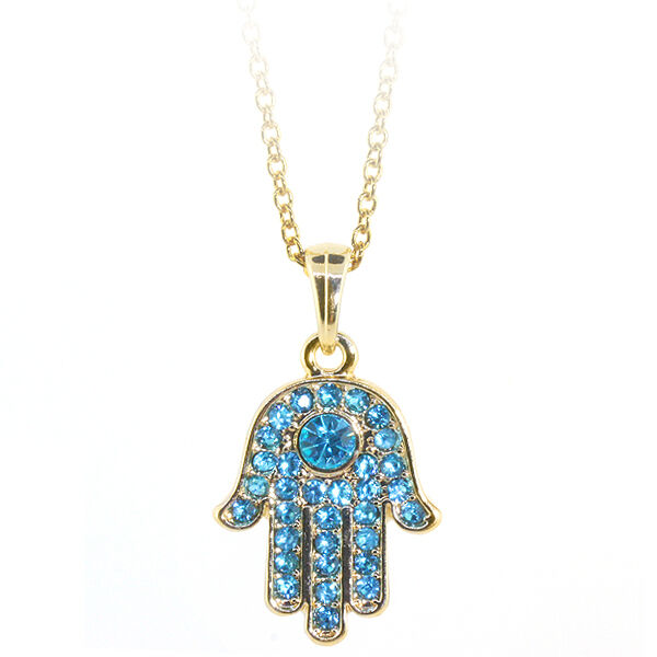 gold color hamsa hand of fatima pendant with blue crystals. Black Bedroom Furniture Sets. Home Design Ideas
