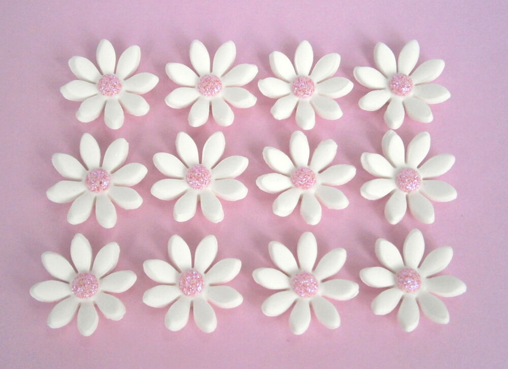 Cake Decorations Flowers Uk : 24 edible white & pink daisy flowers Christening cake ...