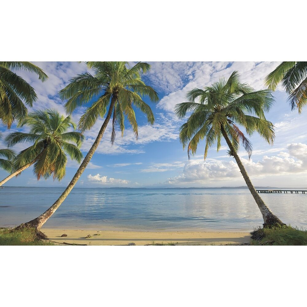 New xl beach wallpaper mural palm trees wall murals for Beach scene mural wallpaper