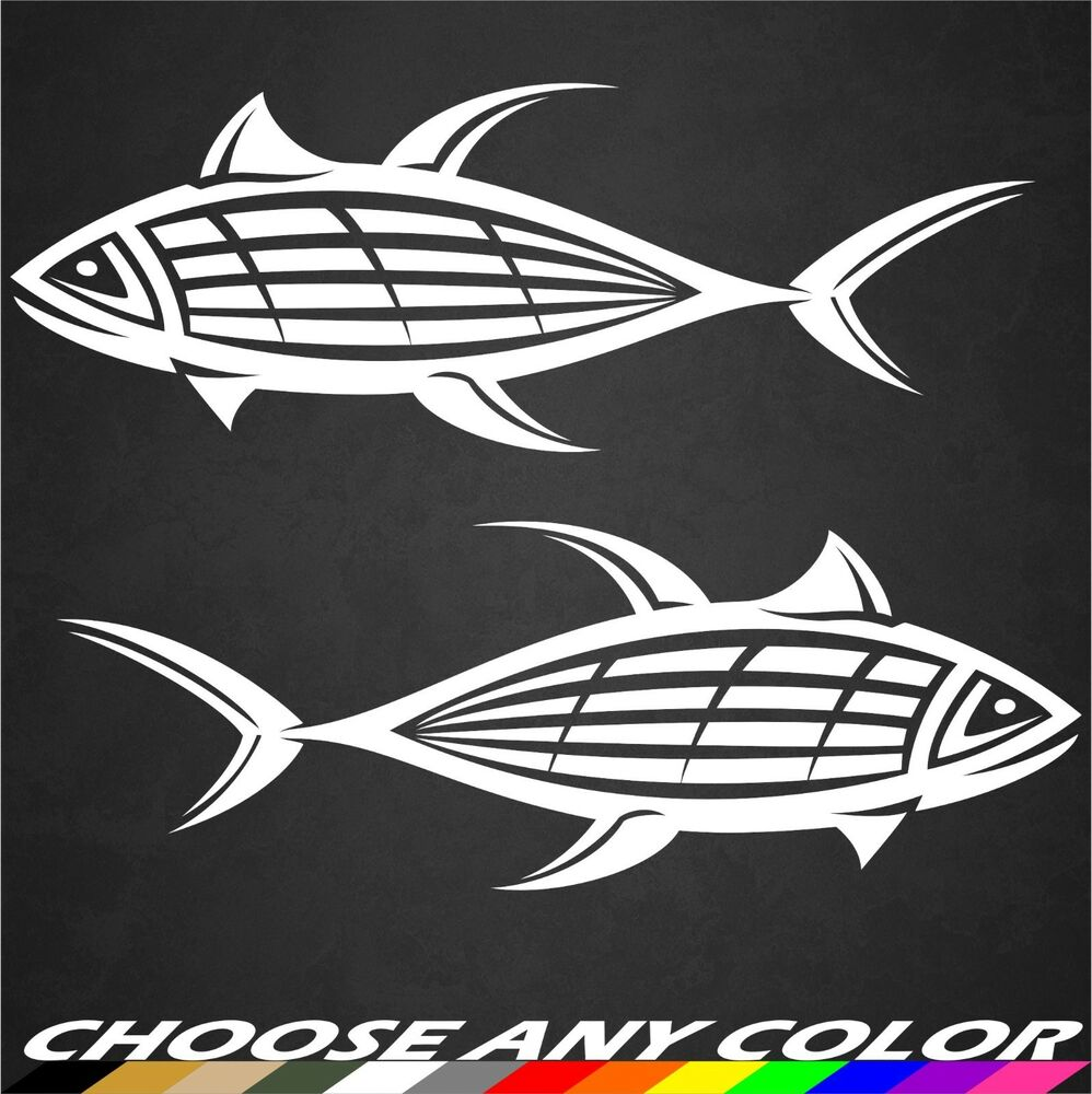 2 tuna sticker decal blue fin fishing ocean boat truck for Fishing vinyl decals