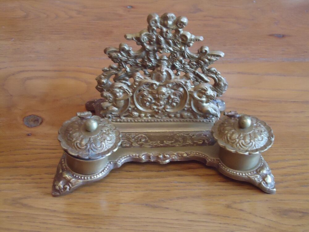 Victorian Style Inkwell Letter Rack Antique Brass Very