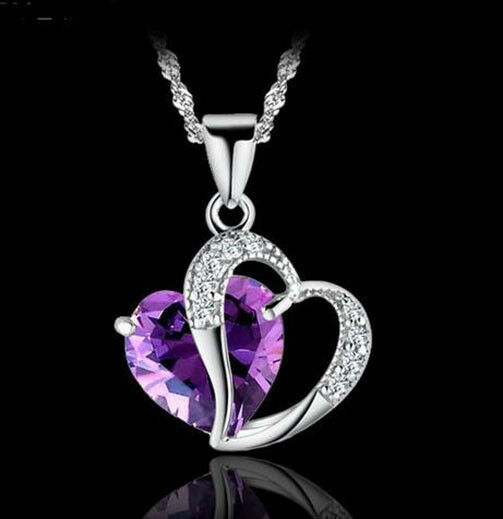 Womens 925 Sterling Silver Purple Amethyst Heart Crystal ...