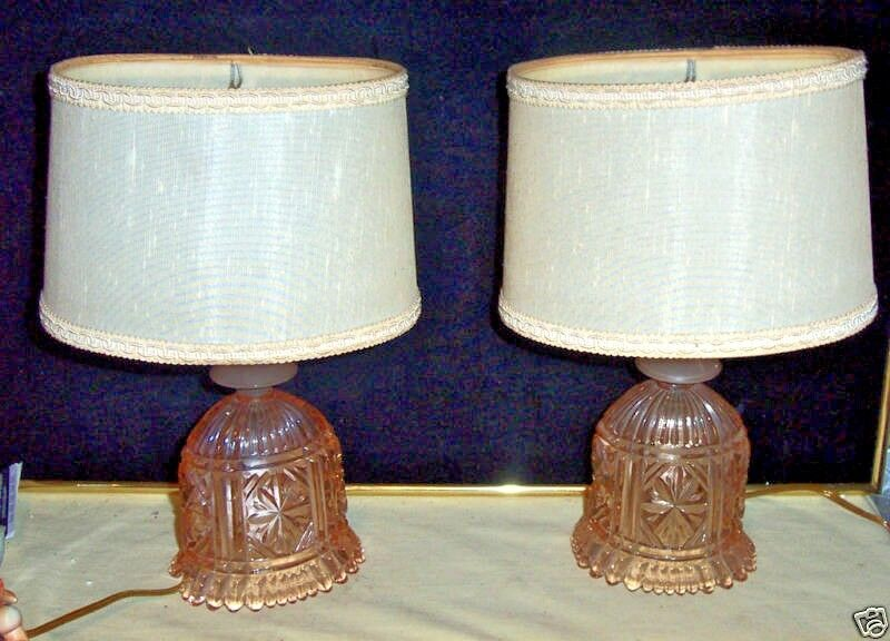 2 pair stunning czech pink cut depression glass bedroom for Unique bedroom lamps