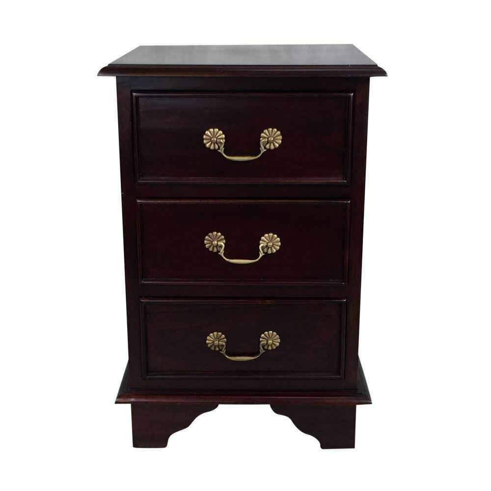 Solid mahogany wood victorian bedside table antique style for Looking bedroom furniture