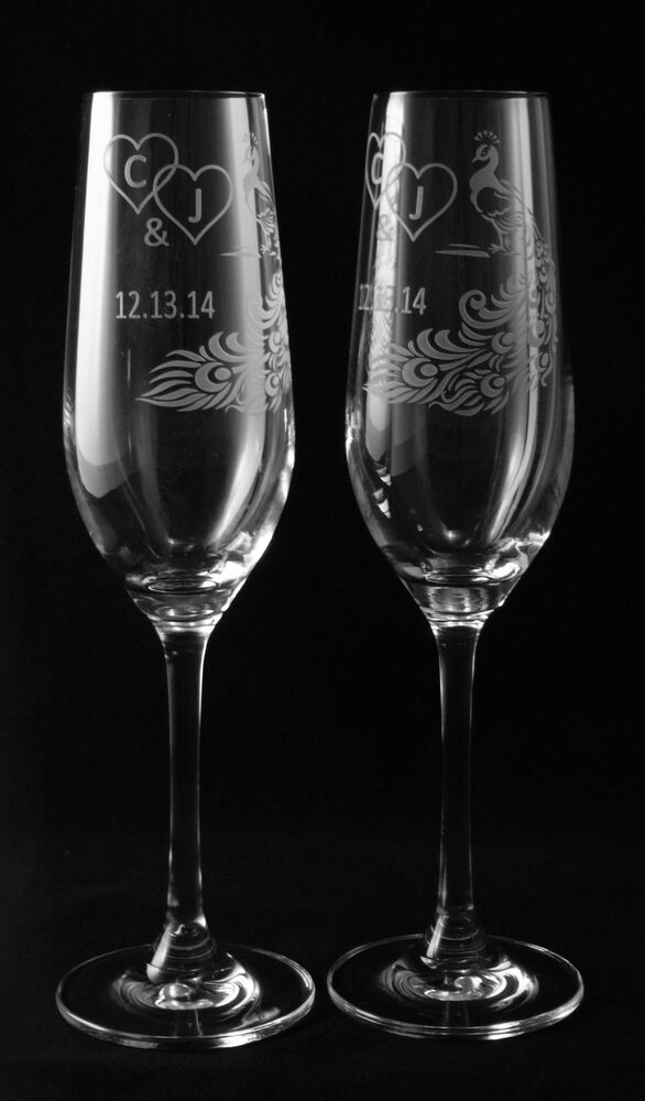 peacock feather personalized wedding toasting glasses 2. Black Bedroom Furniture Sets. Home Design Ideas