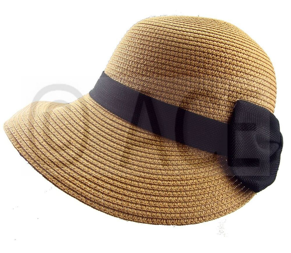 womens straw summer hats ladies wide brim stylish black