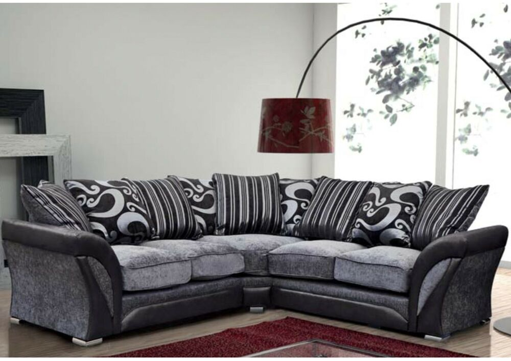 Farrow corner sofa armchair faux leather fabric black for Black and grey couch