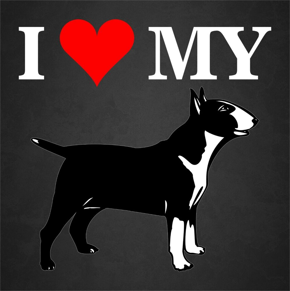 Details about i love my bull terrier dog rescue adopt car window decal sticker pet animal