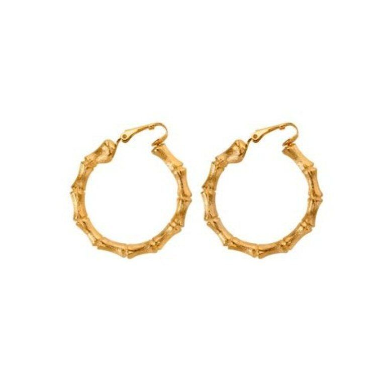 gold hoop earrings clip on bamboo costume jewelry by