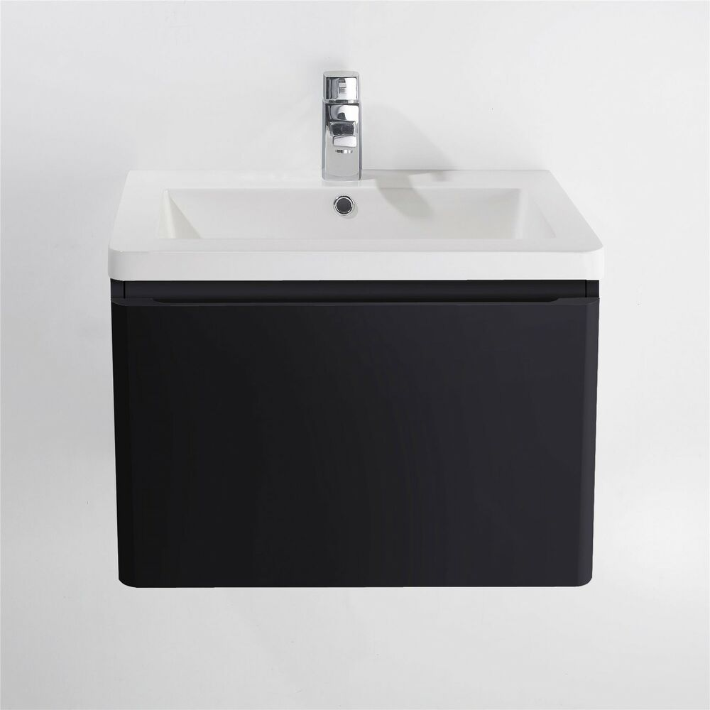 600mm led wall hung black gloss finish bathroom basin sink for Bathroom cabinets 800mm high