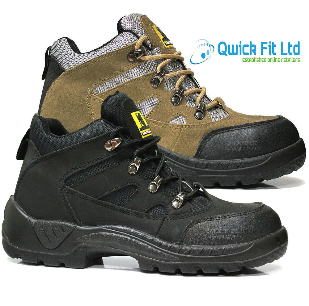 MENS LIGHT WEIGHT SAFETY ANKLE BOOTS HIKING TRAINERS STEEL TOE CAP WORK SHOES | EBay