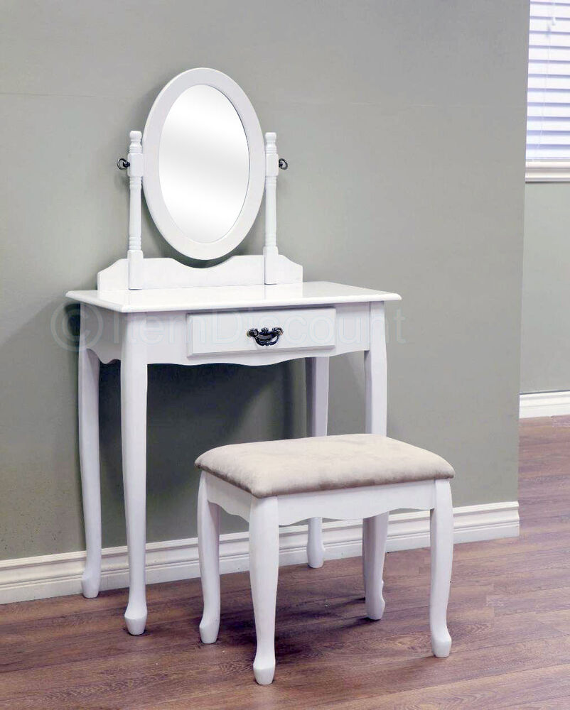 Queen Anne Bedroom Set Details Queen Anne White Oval Mirror Bedroom Vanity Set Table Drawer Bench ...