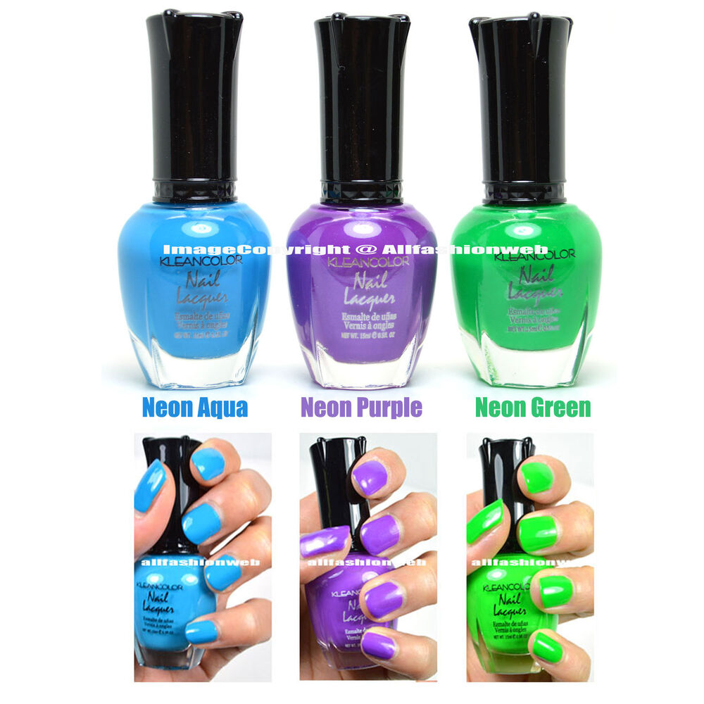 3 KLEANCOLOR NAIL POLISH NEON COLOR AQUA, GREEN, PURPLE