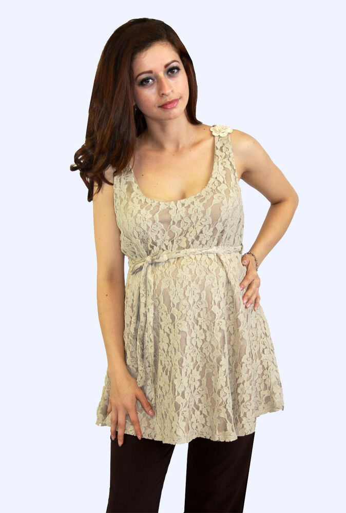 Khaki Beige Floral Lace Maternity Blouse Casual Sleeveless ...