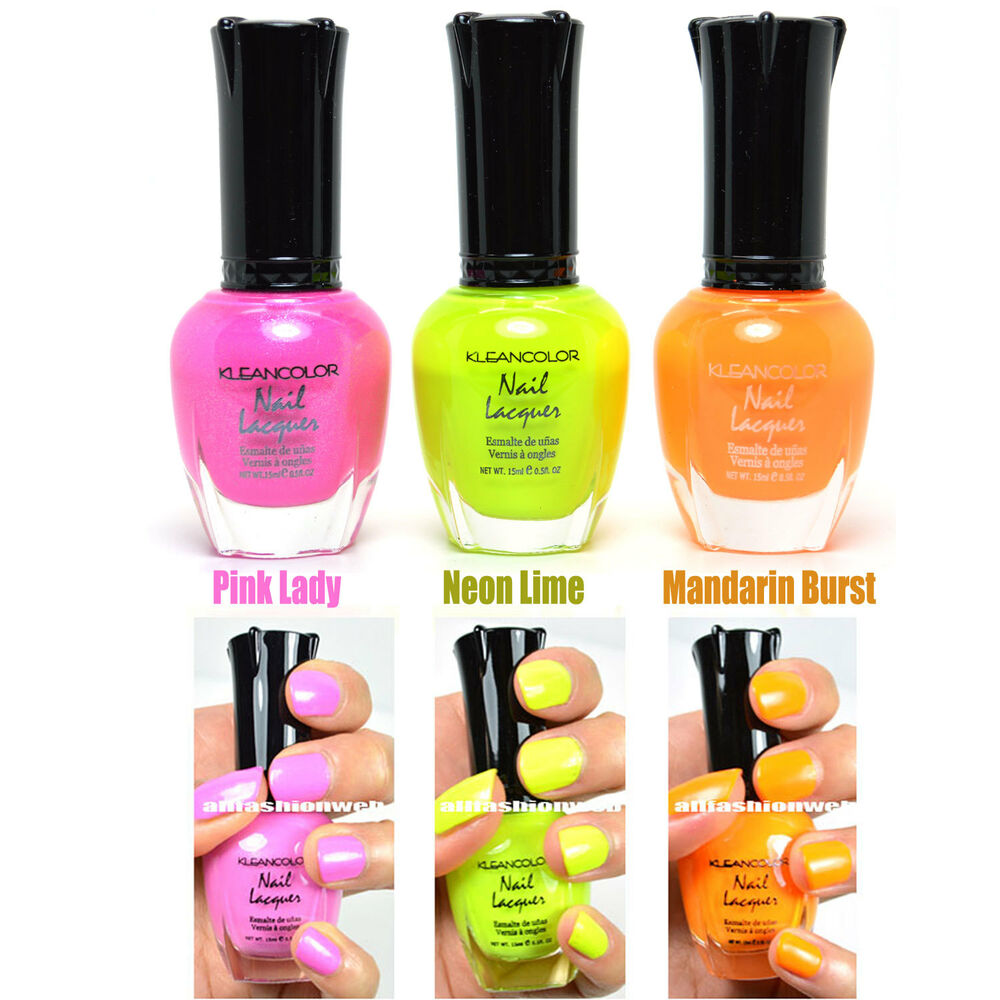 3 KLEANCOLOR NAIL POLISH NEON COLOR PINK LADY, NEON LIME