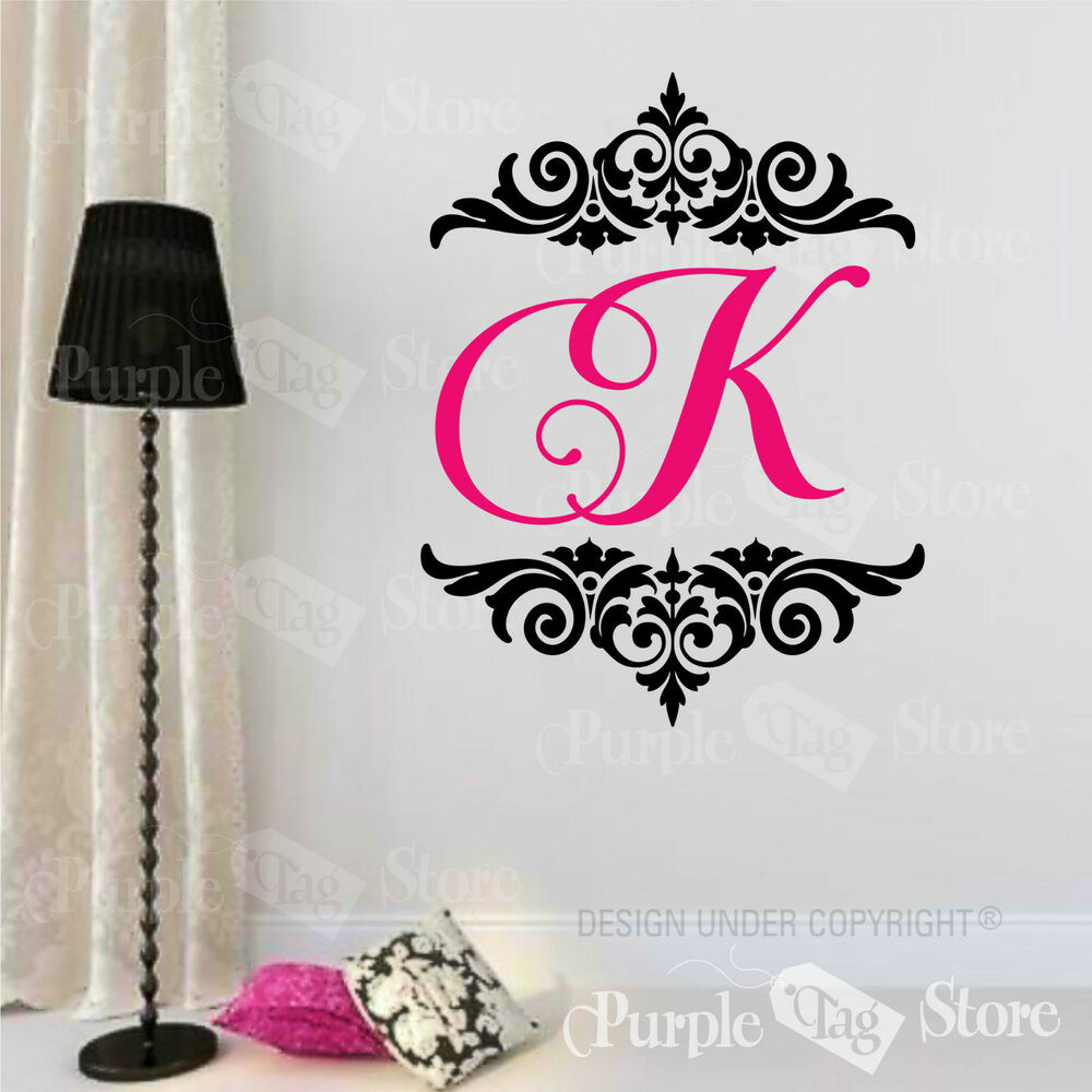 monogram initial personalized custom damask vinyl wall. Black Bedroom Furniture Sets. Home Design Ideas