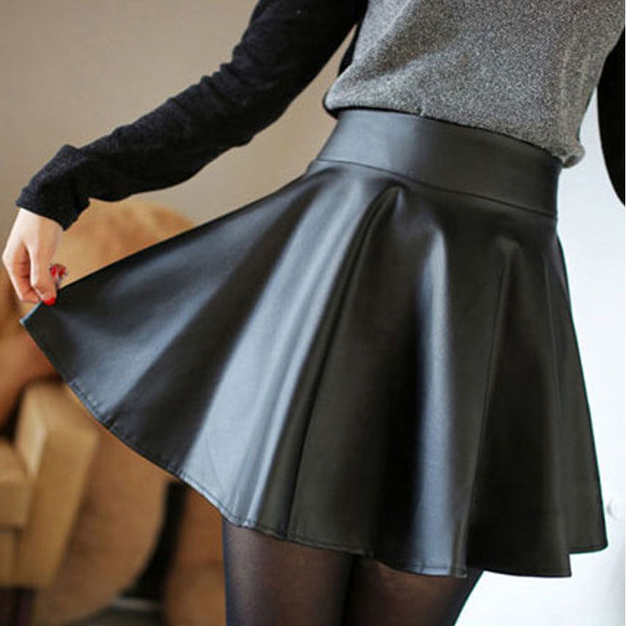 faux leather high waist skater flared pleated