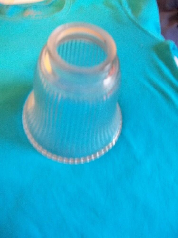 VANITY LIGHT GLASS BELL SHAPED SHADE CLEAR RIBBED GLASS