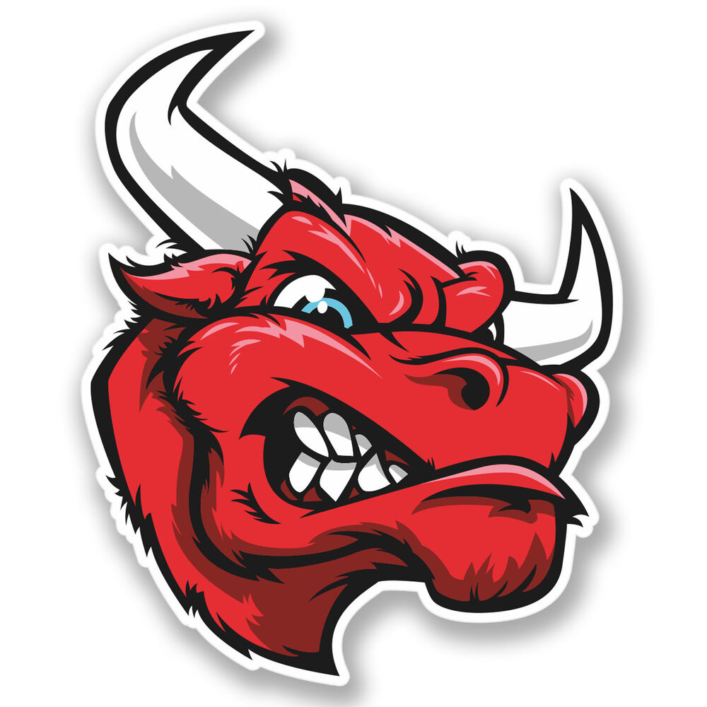 Details about 2 x angry mad bull sticker car bike ipad laptop helmet quad spanish spain 4236