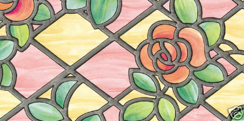 Rose pink stained glass window covering sticky back for Film plastique fenetre