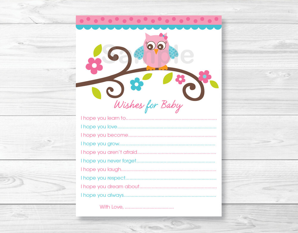 owl blossom printable baby shower wishes for baby advice cards ebay