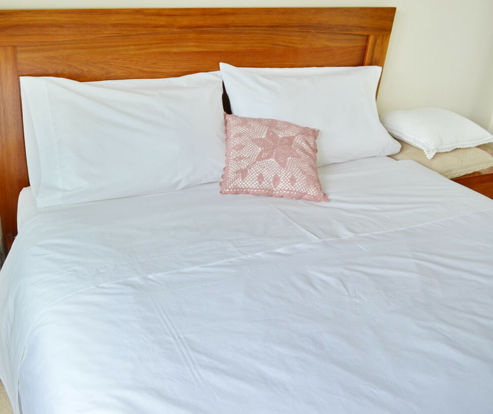 Double Bed Sheet Set Egyptian Cotton White Fitted Flat Pcs